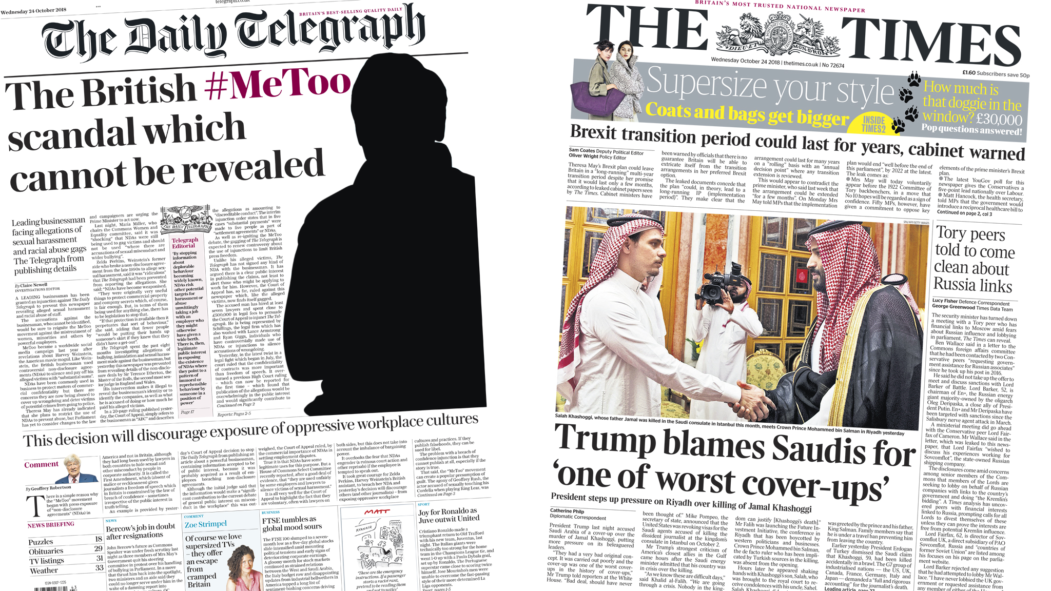 The Papers: 'British #MeToo claims which cannot be revealed'