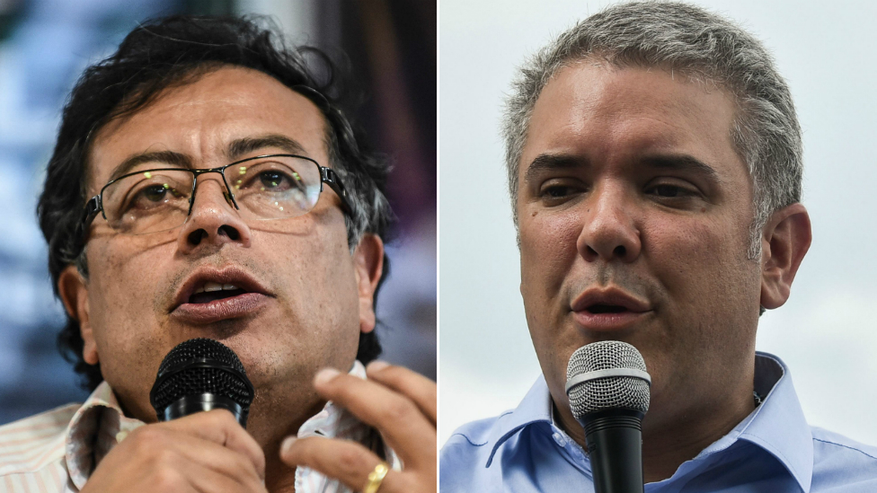 Composite image of Gustavo Petro and Ivan Duque