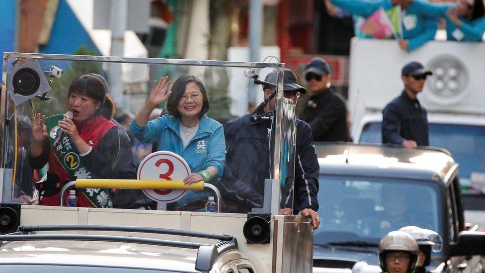 爭取連任的台灣現任總統蔡英文