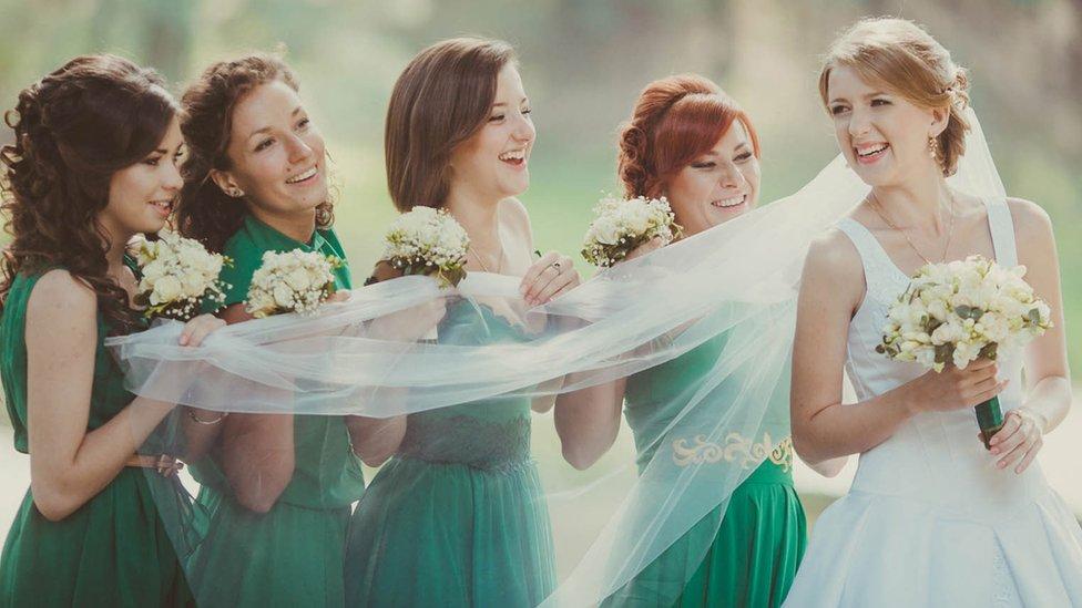Bridesmaids with a bride