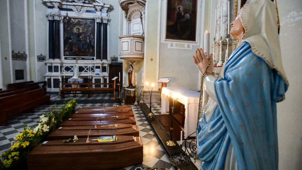 Coffins inside an Italian church