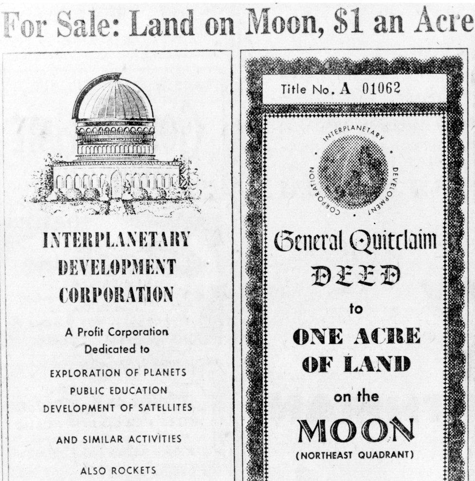 Escritura para parcelas de la Luna, 1955