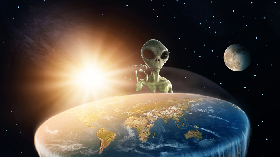 An artist's impression of a flat earth with an alien hovering above it
