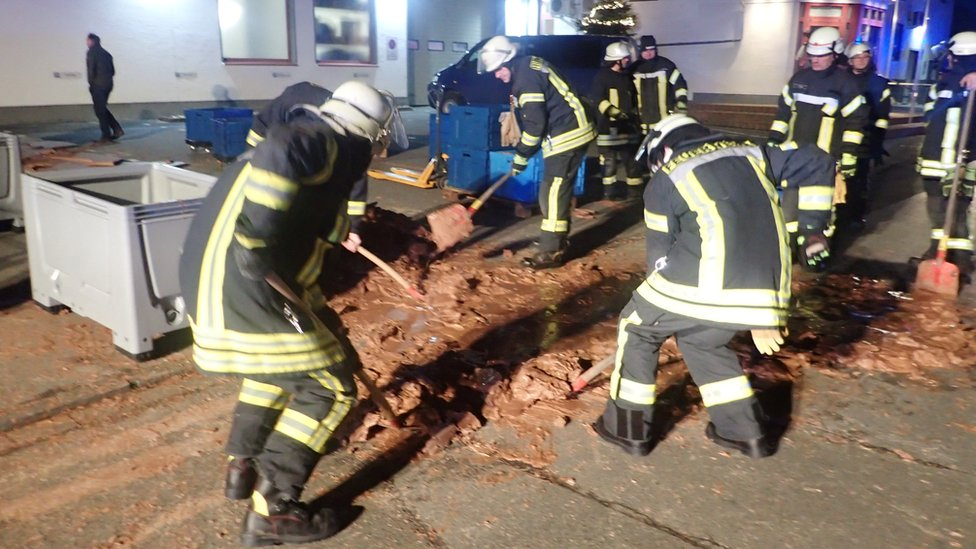 Firefighters clear chocolate