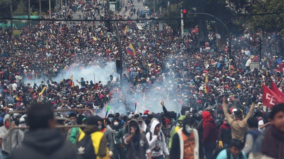 Una marcha en Quito