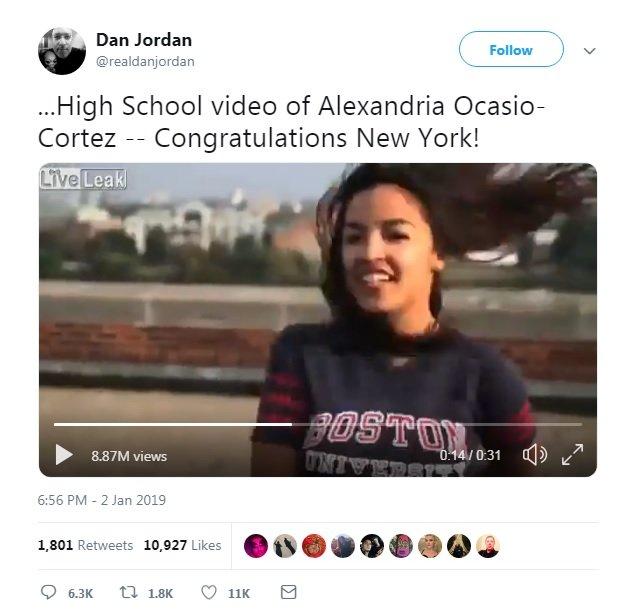 """@realdanjordan tuiteó: """"Video de cuando Alexandria Ocasio-Cortez era estudiante - ¡Felicidades Nueva York!"""