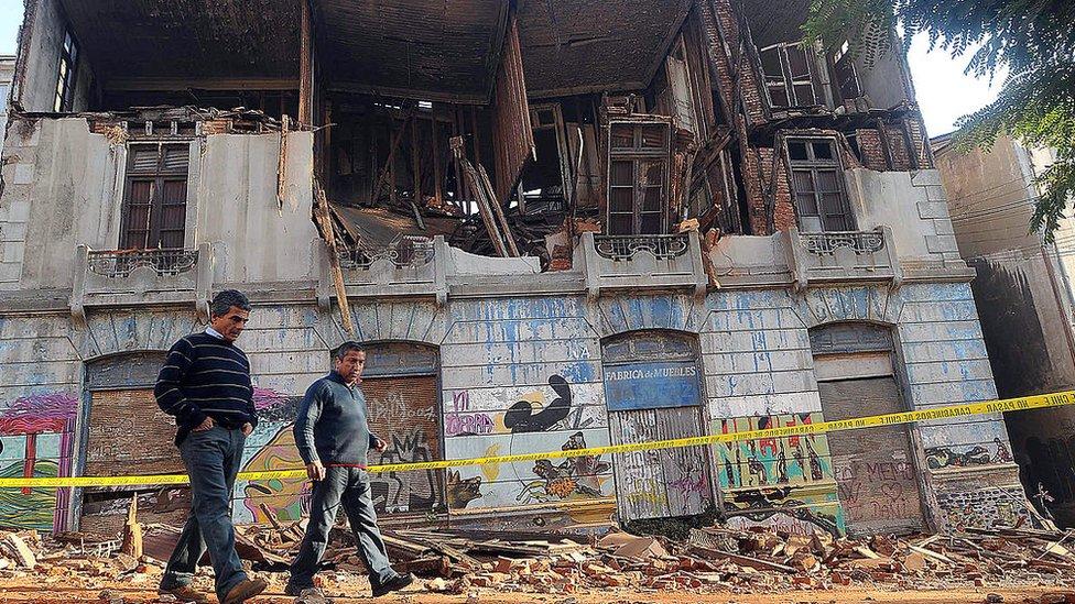 Ruinas del terremoto en Chile.