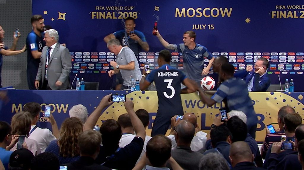 Surprise! Jubilant France players crash manager's news conference