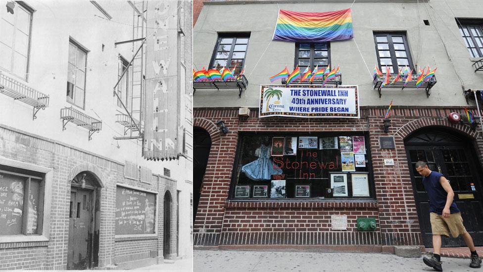 El Stonewall Inn una semana después del levantamiento y en 2009