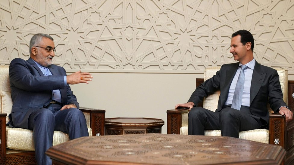 El parlamentario iraní Alaeddin Boroujerdi se reunió con el presidente de Siria, Bashar al Asad, pocas horas después del bombardeo.