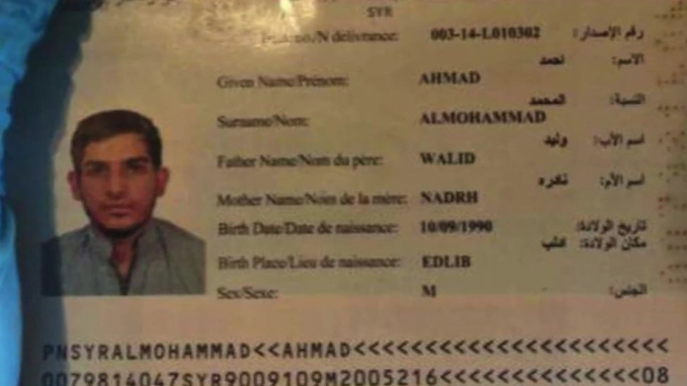 The passport, believed to be a forgery, found near the body of the attacker