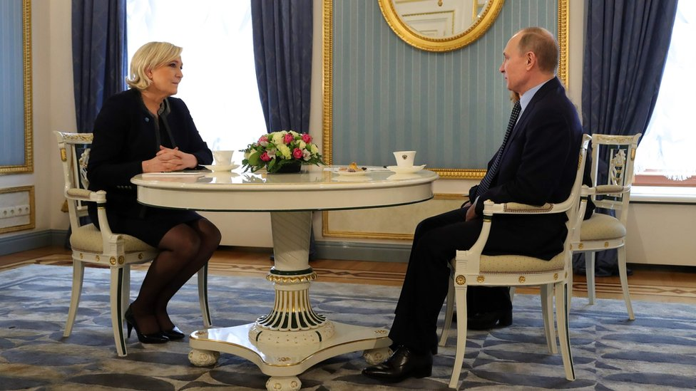 Russian President Vladimir Putin meets French presidential election candidate for the far-right Front National (FN) party Marine Le Pen at the Kremlin in Moscow on March 24, 2017