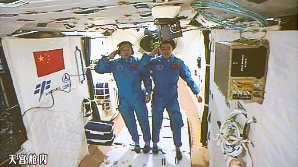 Chinese astronauts on board China's space station Tiangong 2 on 19 October 2016.