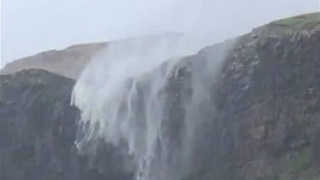 Storm Callum: Waterfall 'reversed' by wind on Skye