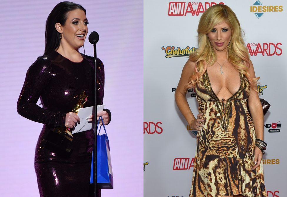 Angela White with her Female Performer of the Year Award; Tasha Reign, chairwoman of the Adult Performer Advocacy Committee