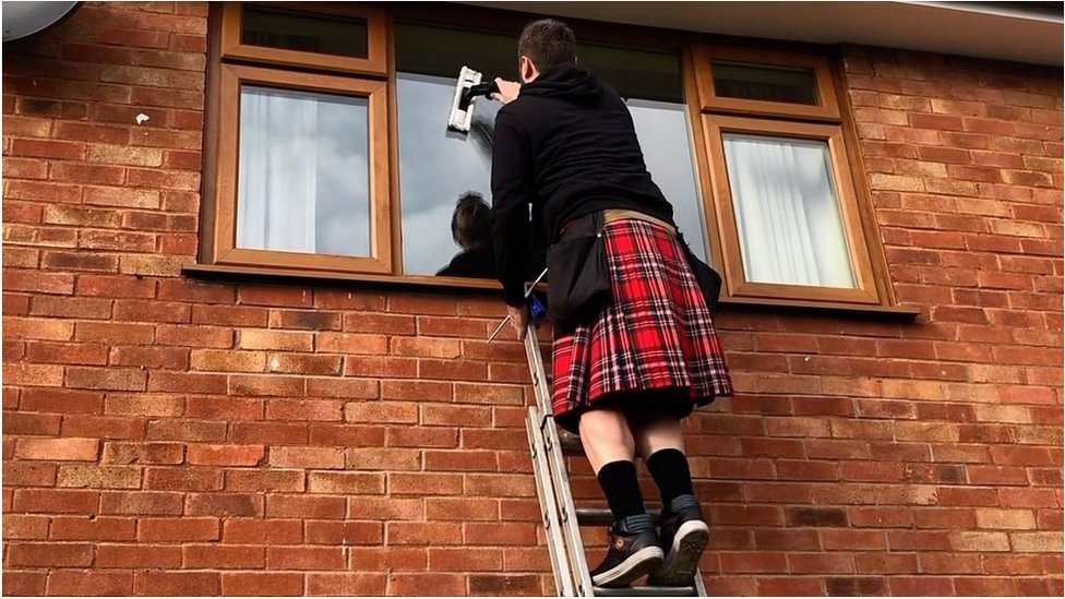 'I go cleaning windows in my kilt'