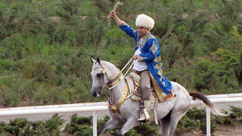 Turkmen President Gurbanguly Berdymukhamedov rides during a Day of Turkmen tiger beetle state holiday