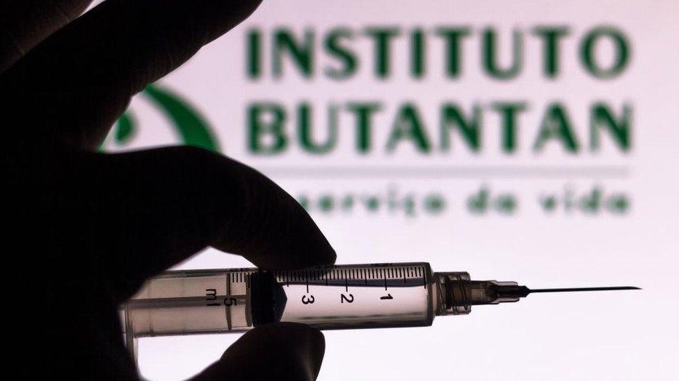 Mão segura seringa diante de logo do Butantan