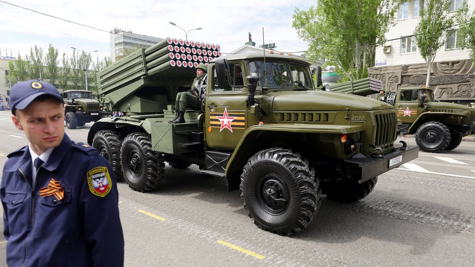 Donetsk, 9 May - Russian Grad rockets in rebel military parade