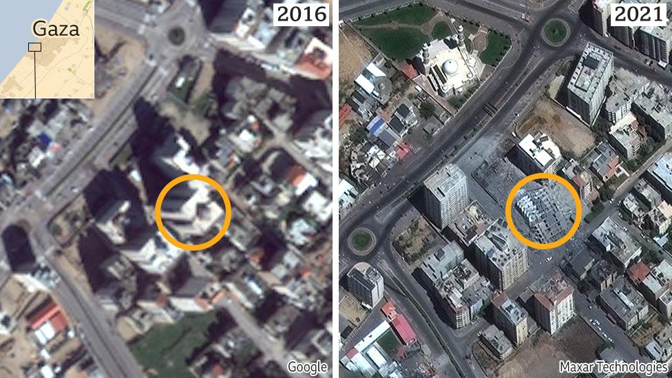 Izquierda: imagen de Google Earth de Gaza en 2016; derecha: imagen de la empresa Maxar tomada el 12 de mayo de 2021