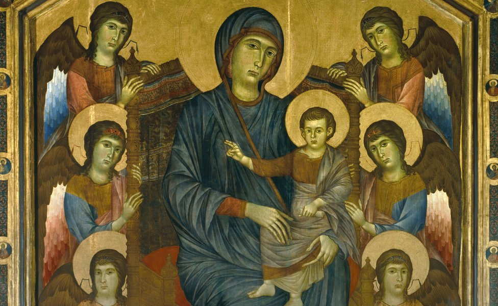 The Madonna and Child in Majesty Surrounded by Angels, by Cenni di Pepo, known as Cimabue (1240-1302), on display at the Paris Louvre Museum