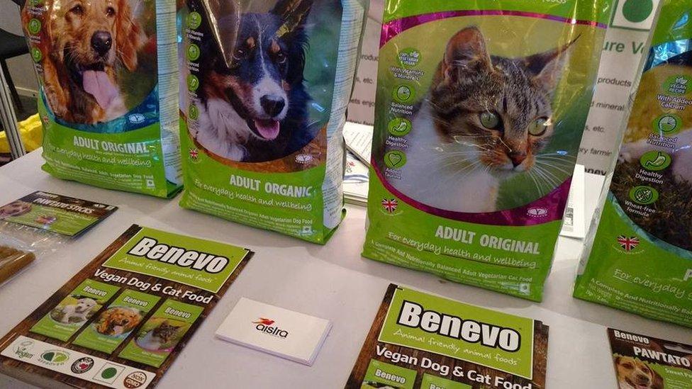 Packs of vegan dog food