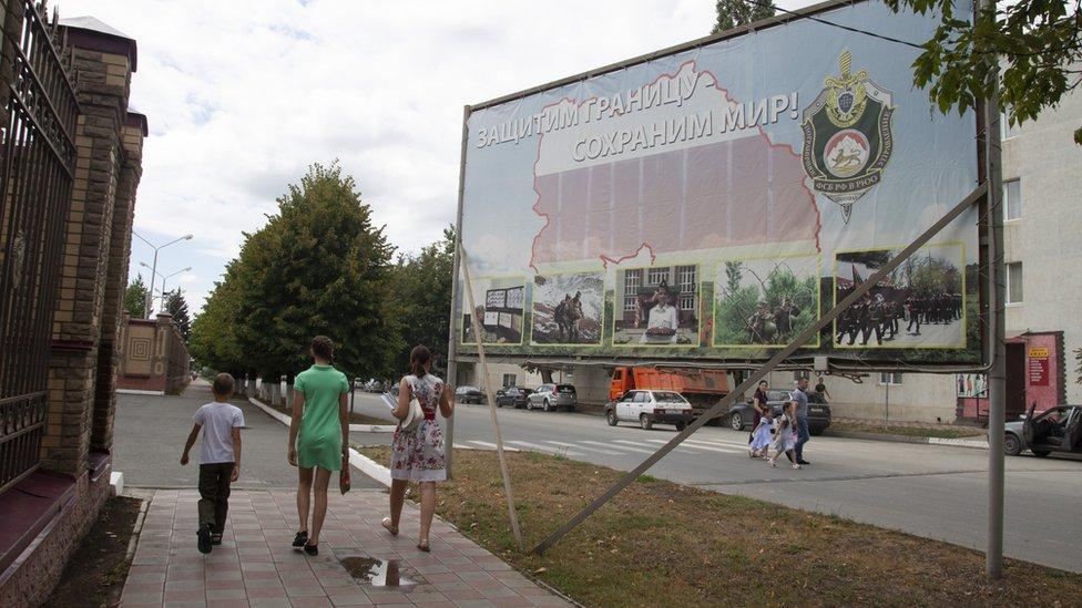 Billboard with Russian slogan, Tskhinvali
