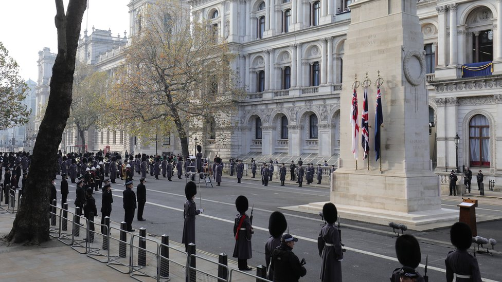 The Remembrance Sunday service at the Cenotaph