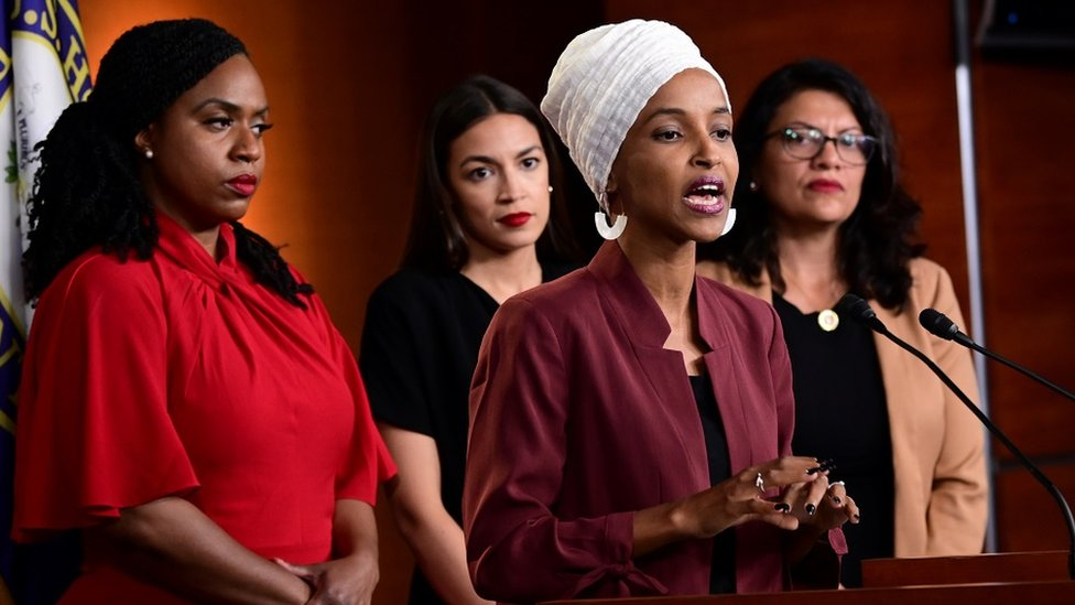 "Ayanna Pressley (D-MA), Ilhan Omar (D-MN), Alexandria Ocasio-Cortez (D-NY) and Rashida Tlaib hold a news conference after Democrats in the U.S. Congress moved to formally condemn President Donald Trump""s attacks on the four minority congresswomen on Capitol Hill in Washington, U.S., July 15, 2019."
