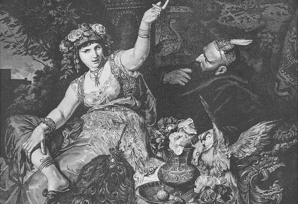 """Sherezade cautivando al rey con sus historias en una ilustración de """"Las mil y una noches"""" de 1892."""