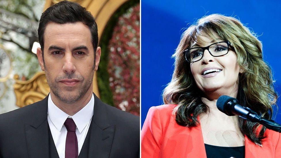 Sacha Baron Cohen y Sarah Palin.