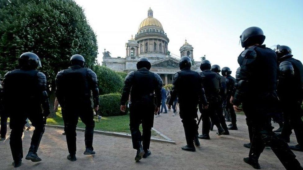 شرطة موسكو خلال مظاهرات التاسع من سبتمبر/ أيلول ضد تعديل قانون التقاعد