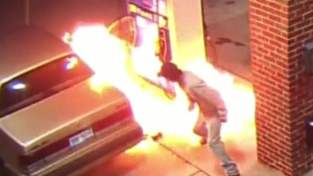 Fire at petrol pump