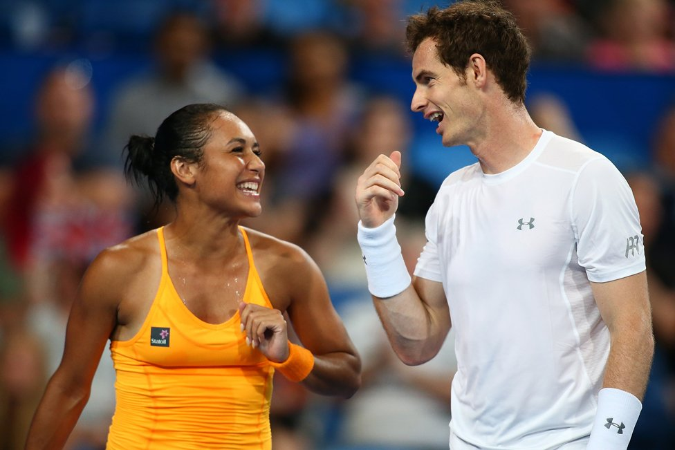 Heather Watson and Andy Murray of Great Britain talk in the mixed doubles match against Caroline Garcia and Kenny De Schepper of France during day two of the 2016 Hopman Cup on January 4, 2016 in Perth, Australia