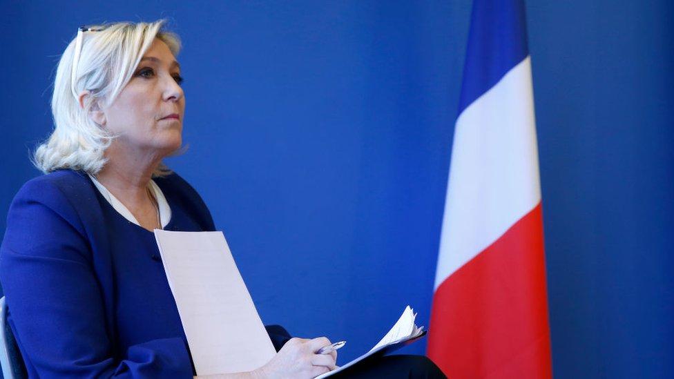 Marine Le Pen, líder del partido nacionalista francés Agrupación Nacional.