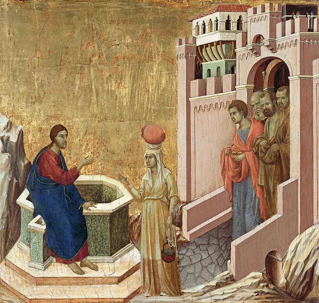 Cristo y la Samaritana, de Duccio di Buoninsegna (1310-1311)