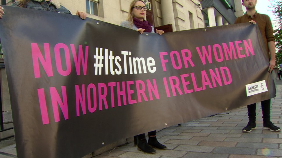 Abortion reform campaigners at the High Court in Belfast