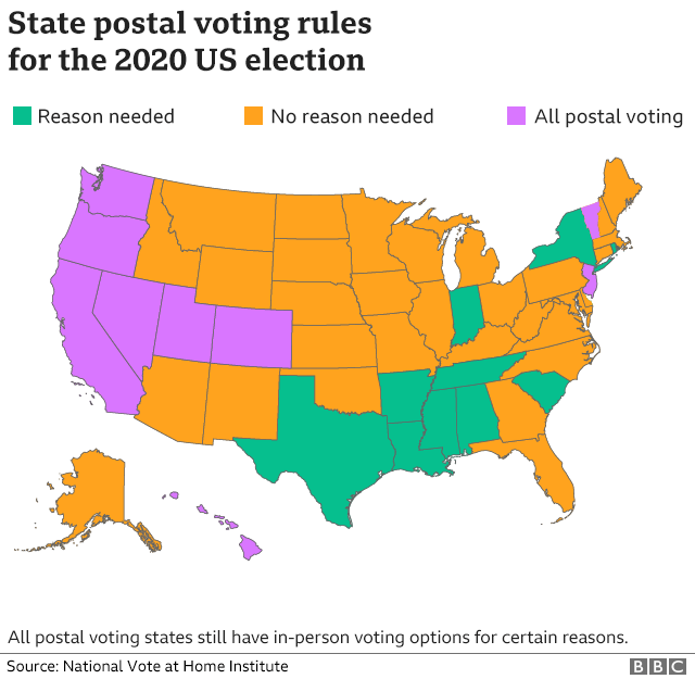 Map showing which states are entitled to a postal vote