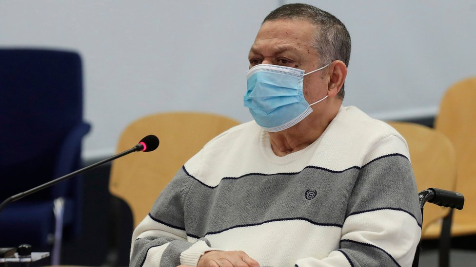Former Salvadoran colonel and Defense Deputy Minister Inocente Montano looks on before the start of his trial