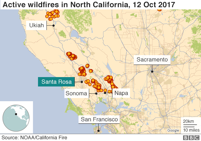 Map showing active wildfires in California