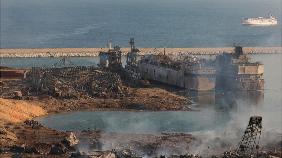 مركز الانفجار في ميناء بيروت