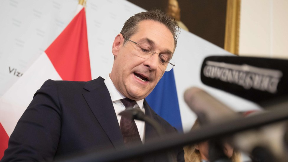 Austria's Vice-Chancellor and chairman of the Freedom Party FPOe Heinz-Christian Strache