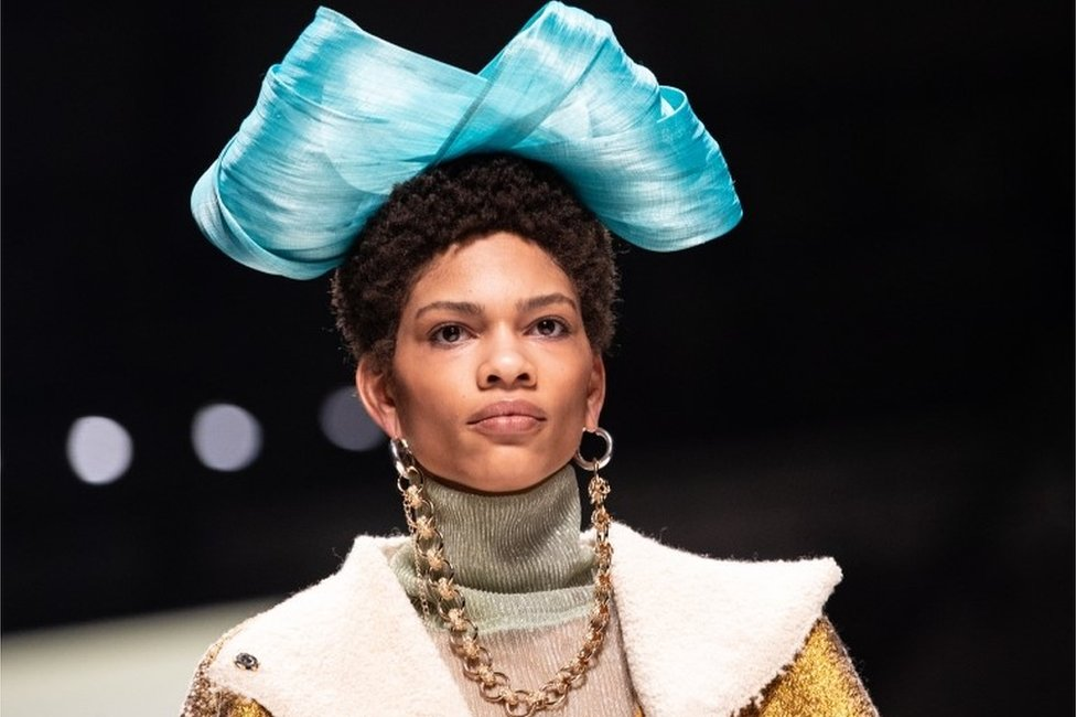 """A model presents a creation by Viviers of the show """"Fashion talents from South Africa"""" during the Mercedes-Benz Fashion Week in Berlin, Germany, 13 January 2020"""