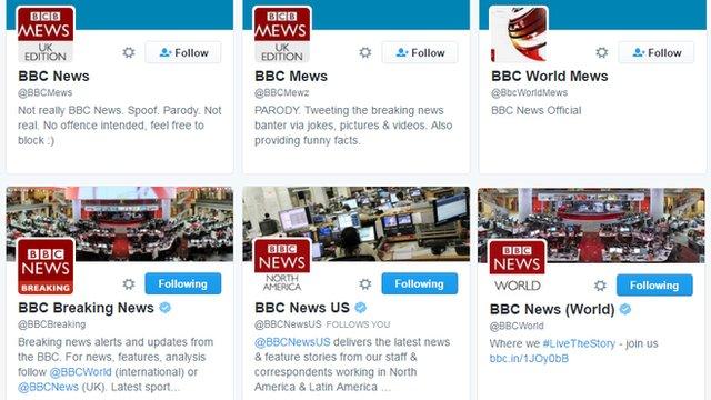 Fake and genuine BBC News twitter accounts