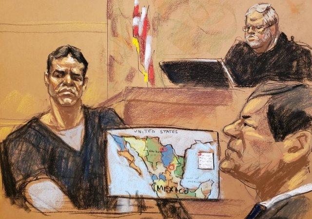 """Ilustración de """"El Vicentillo"""" durante el juicio."""
