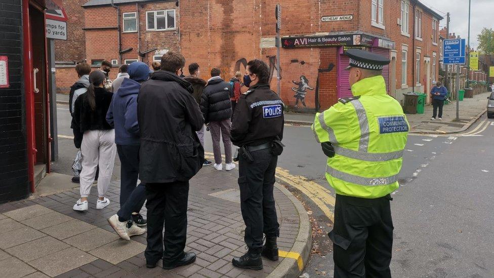 People visiting Banksy art on Saturday
