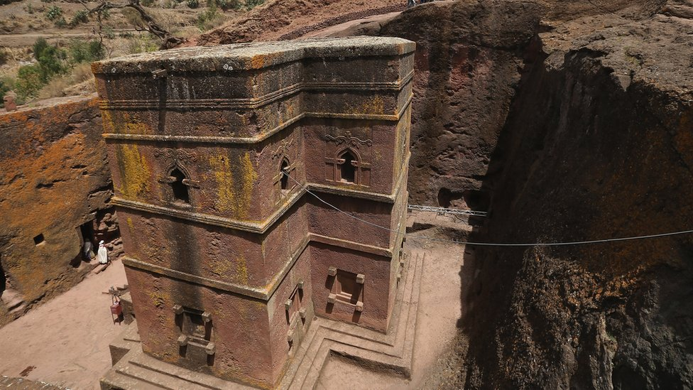 The rock-hewn church of Bete Giyorgis in Lalibela, Ethiopia.