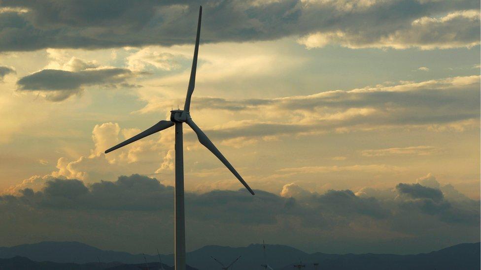 A wind turbine in Oaxaca, Mexico