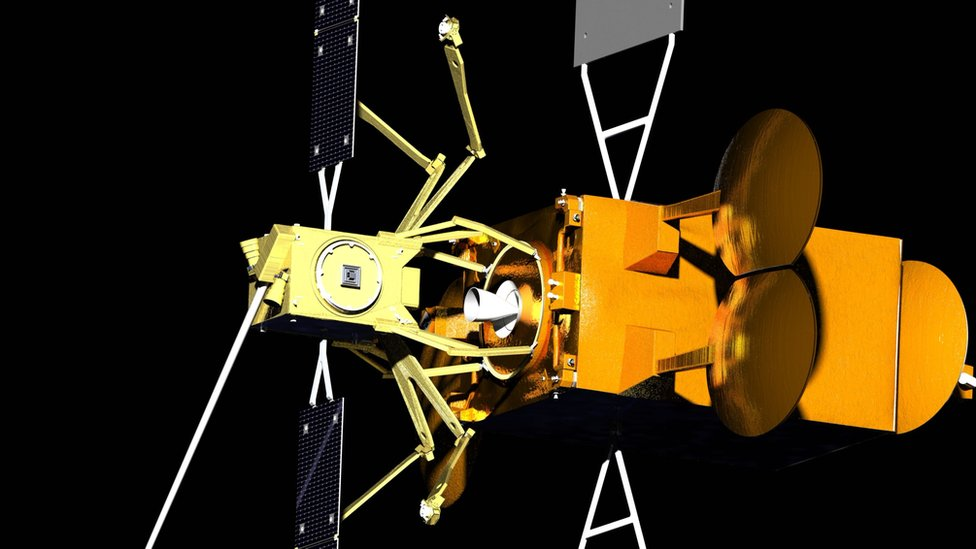 """The """"Space Drone"""" (yellow) would dock with the ageing telecommunications satellite"""