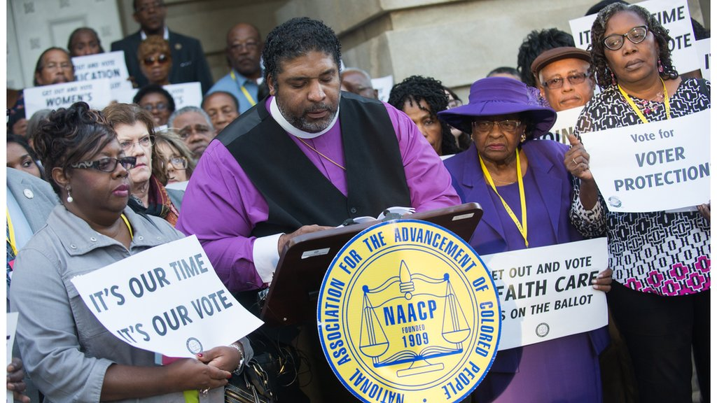 Civil rights activists in North CArolina protest for voting rights